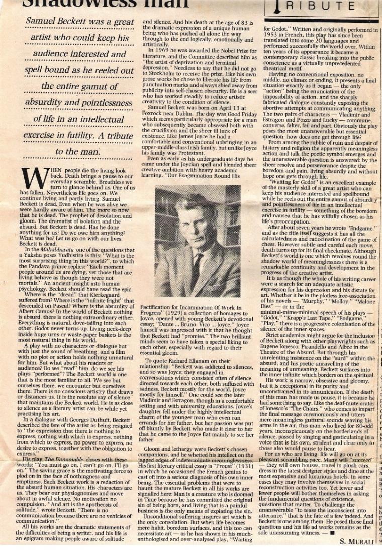 Remembering Samuel Beckett