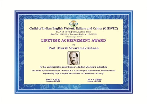 LIFETIME ACHIEVEMENT AWARD TO PROF.MURALI SIVARAMAKRISHNAN