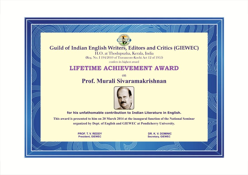 LIFETIME ACHIEVEMENT AWARD TO PROF.MURALI SIVARAMAKRISHNAN